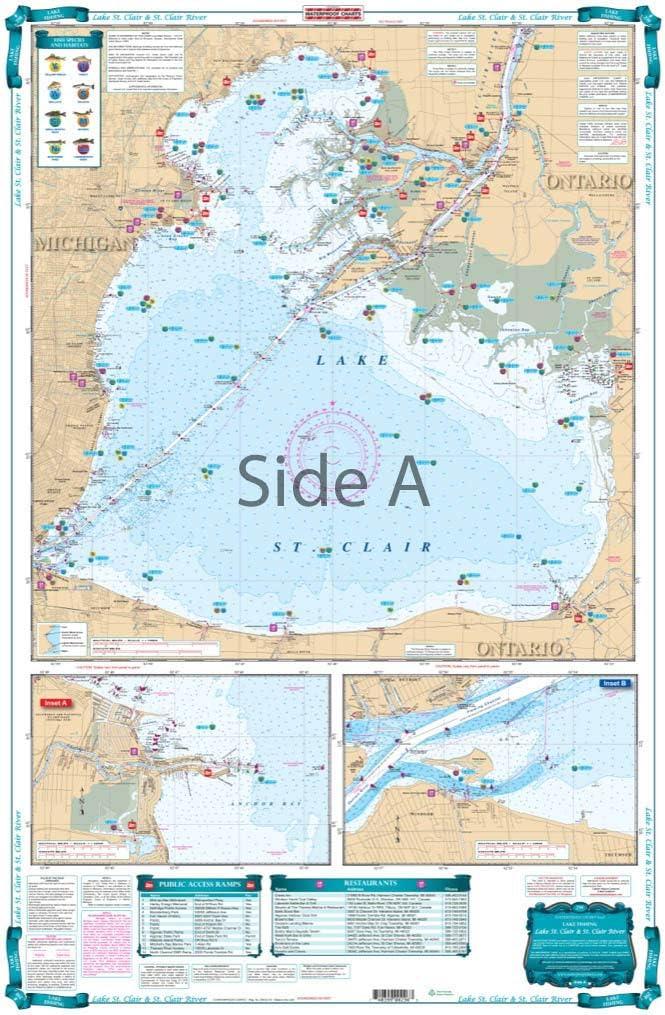 lake st clair map chart Amazon Com Waterproof Charts Lake Fishing 29f Lake St Clair lake st clair map chart