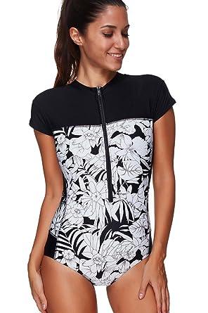 080338eed56 Ecute Womens Short Sleeve Swimsuit Zip Front One Piece Swim Costume Swimwear:  Amazon.co.uk: Clothing