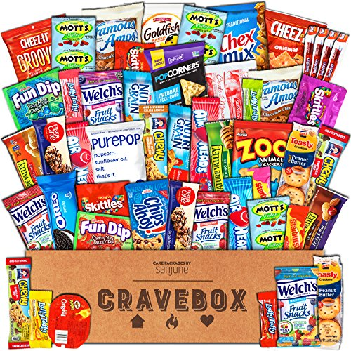 CraveBox - Deluxe Care Package Snack Box - Gift Basket Variety Pack with Bars, Chips, Candy and Cookies - Sweet and Salty Treats for Lunches, College Students and Office Parties (Road Trip Gift Box)