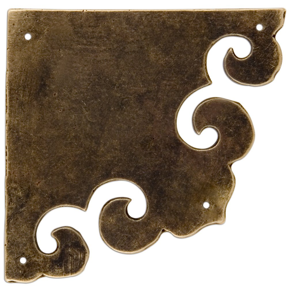 Curled Box Corner Plate 3.3'' - Set of 2