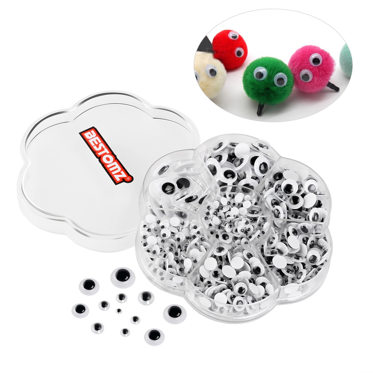 BESTOMZ 700 Pieces Googly Wiggle Eyes with Self-adhesive DIY Scrapbooking Crafts Toy Accessories 4336856525