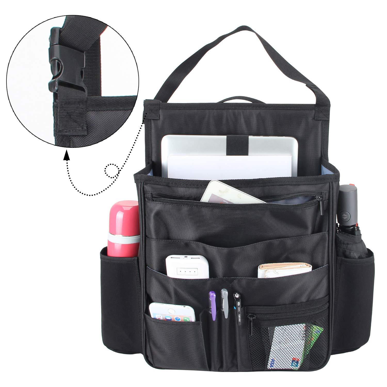 Car Seat Back Storage Bag with Laptop /& Tablet Storage Car Seat Organiser Front Luxja Car Seat Storage Organiser Black