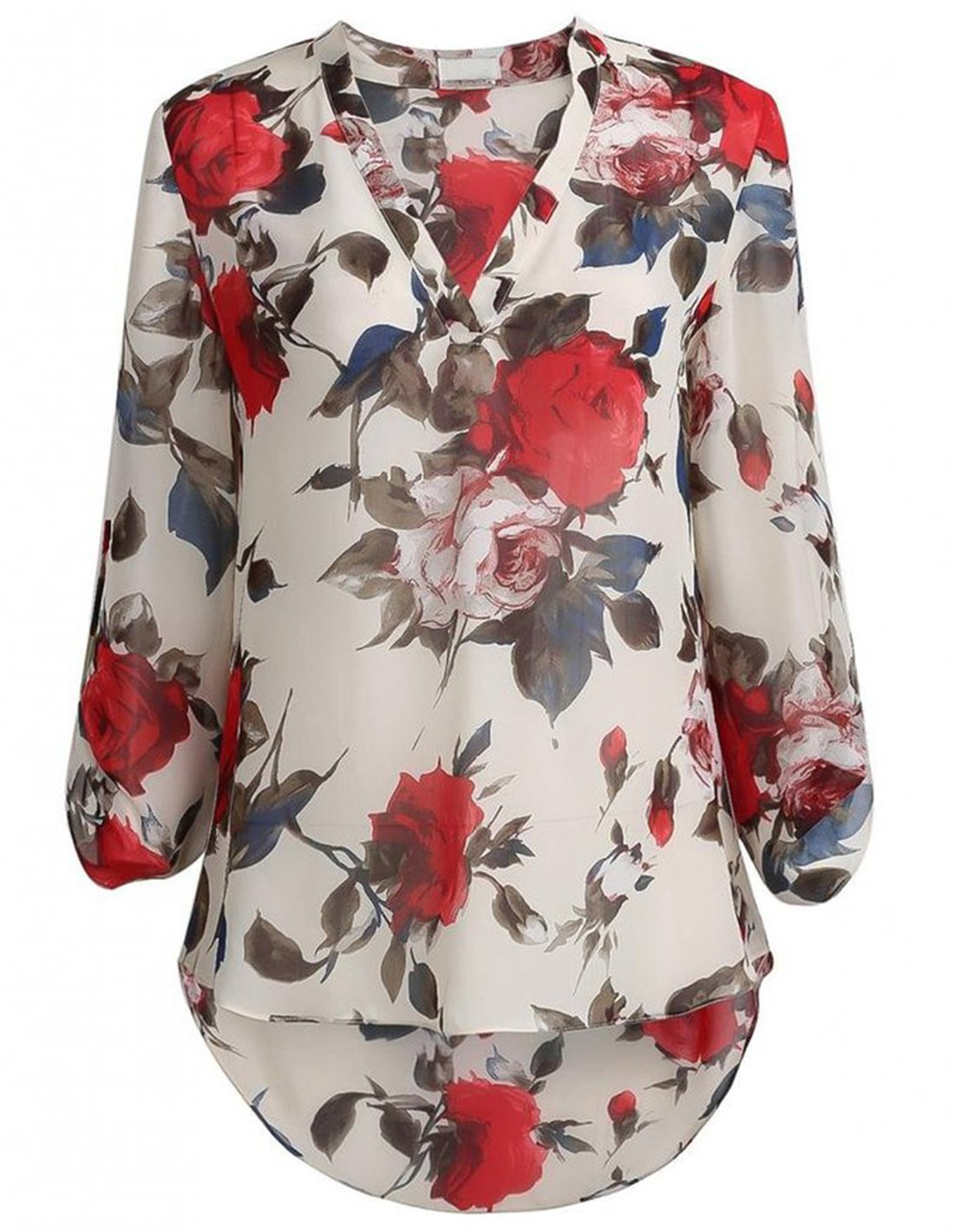SheIn Women\'s Floral Printed V Neck High Low Hem Cuffed Sleeves Blouse - Multicolor Large