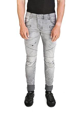 Pierre Balmain Men's Slim Fit Distressed Biker Denim Jeans