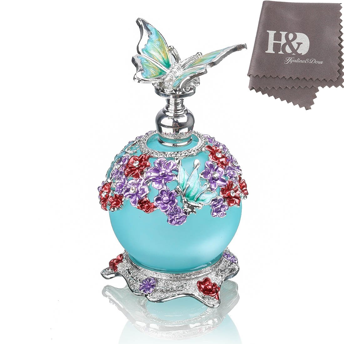 H& D Butterfly Perfume Bottle, Retro Frosted Glass Refillable Glass Perfume Bottle Empty with Blue Bottle Body 23ml LTD