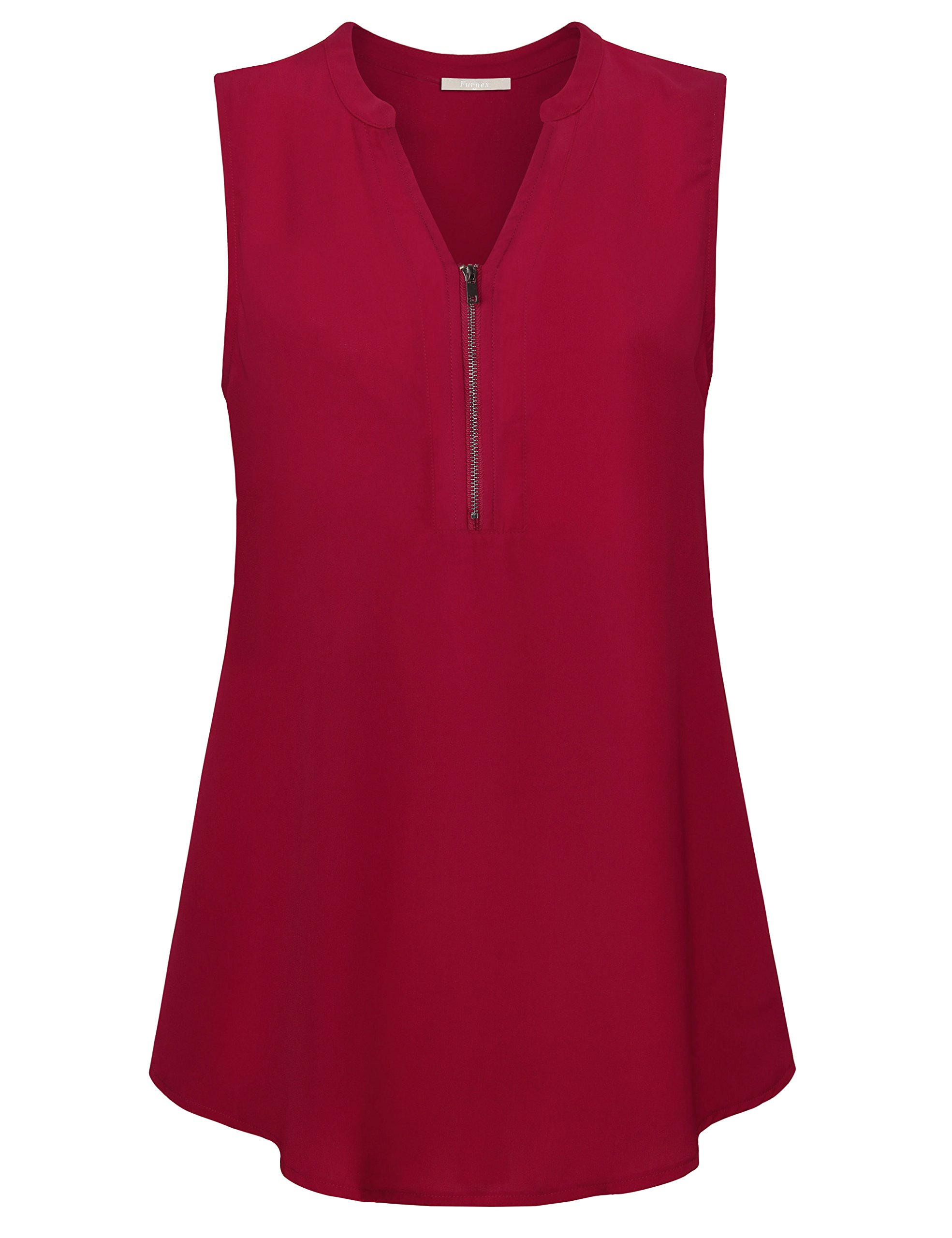 Furnex Casual Blouse for Women, Summer Blouse Tops Elegant V Neck Loose Relaxed Fit Chiffon Tunic for Legging(Wine,Medium)