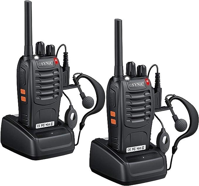 eSynic Walkie Talkies Radio de 2 vías PMR446MHz Walkie Talkie de Largo Alcance con 2 Piezas Auriculares Originales Walky Talky 16CH Banda Única ...
