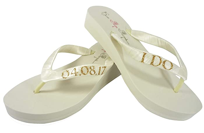 83cdbdf13 Image Unavailable. Image not available for. Color  Low Heel Ivory   Gold or  Silver many Colors Glitter I DO Wedding Wedge Sandals