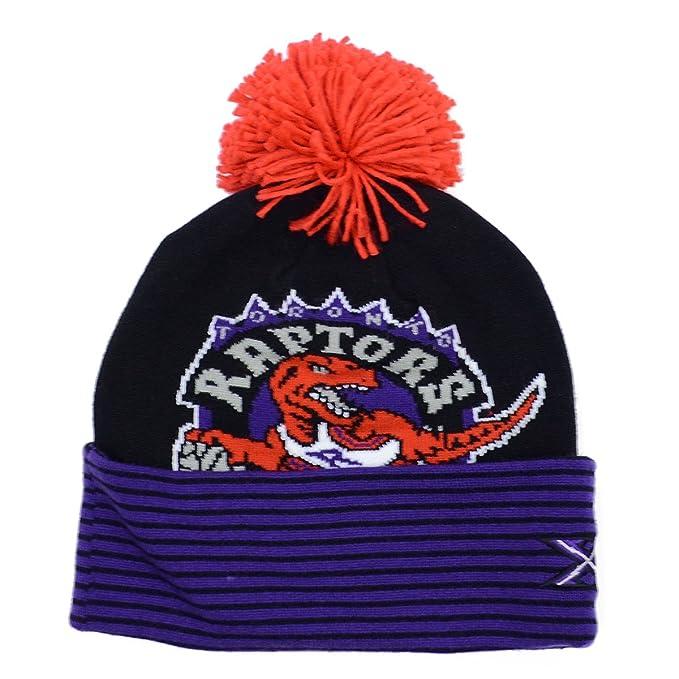 5dbd14a9d95 Mitchell   Ness Toronto Raptors 20th Anniversary Knit Hat with Pom (Striped  Cuff)