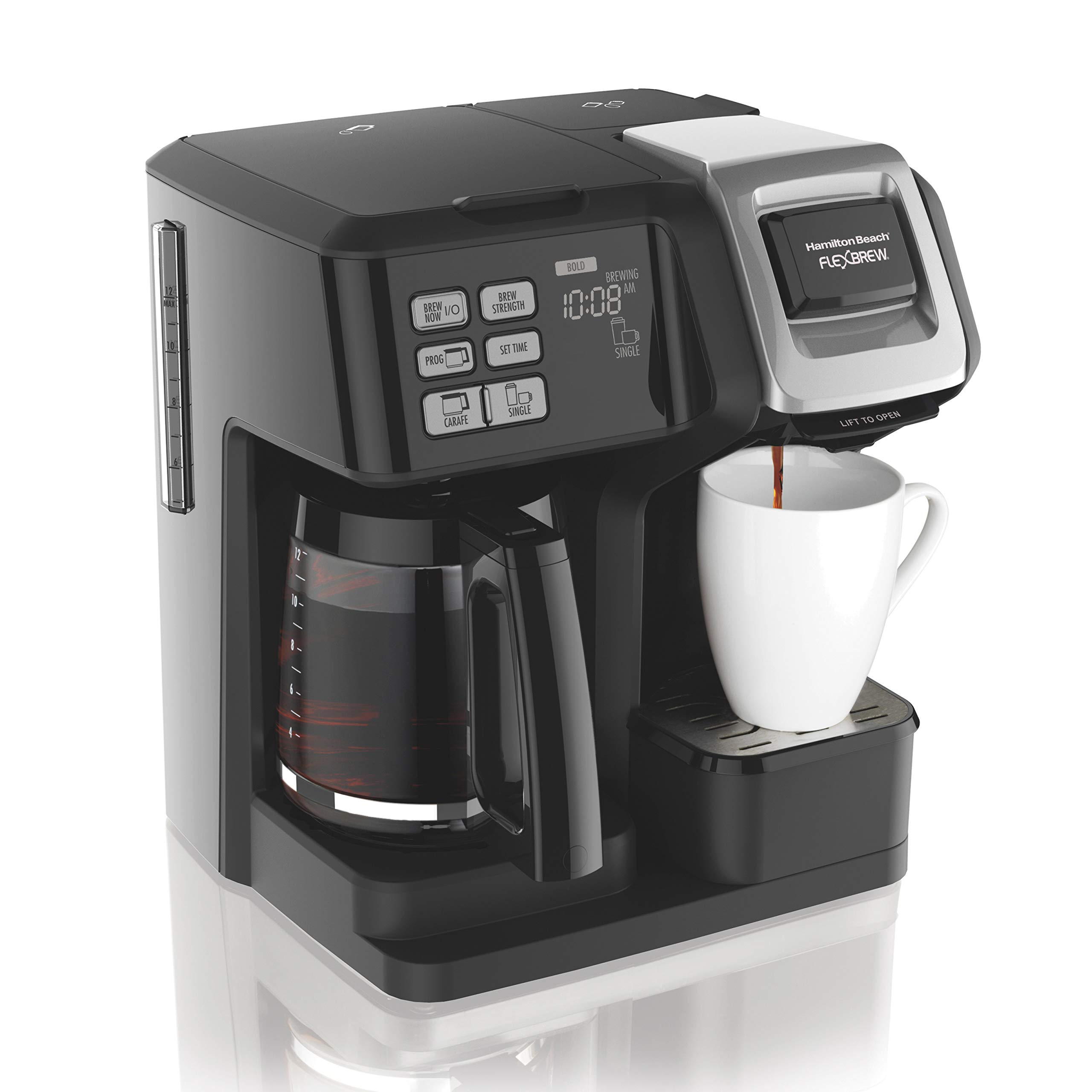 Hamilton Beach (49976) FlexBrew Coffee Maker, Single Serve & Full Coffee Pot, Compatible with Single-Serve Pods or Ground Coffee, Programmable, Black by Hamilton Beach