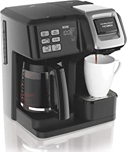 Hamilton Beach 49976 FlexBrew Coffee Maker, Single Serve & Full 12 Pot, Compatible for K-Cup Pods or Grounds, Black