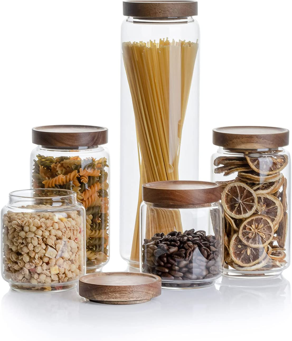 Kanwone Airtight Food Storage Containers with Bamboo lids set of 5, Stackable Food Storage Containers, Glass Canisters for Pantry, kitchen, Flour, Sugar, Tea, Coffee, Pasta, Cookies, Rice and Spice