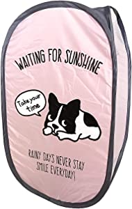 French Bulldog Fordable Pop-Up Laundry Basket Pink Toy Box