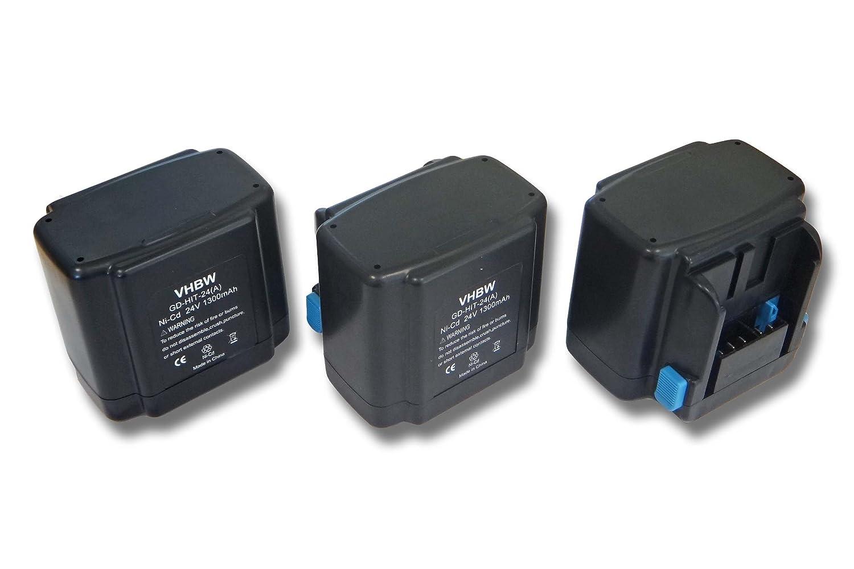 vhbw 3x Ni-CD Akku 1300mAh (24V) für Werkzeuge Hitachi C 7D, CR 24DV, DH 24DV, DH 24DVA wie Hitachi EB 2420, EB 2430HA, EB 2430R, EB 2433X.