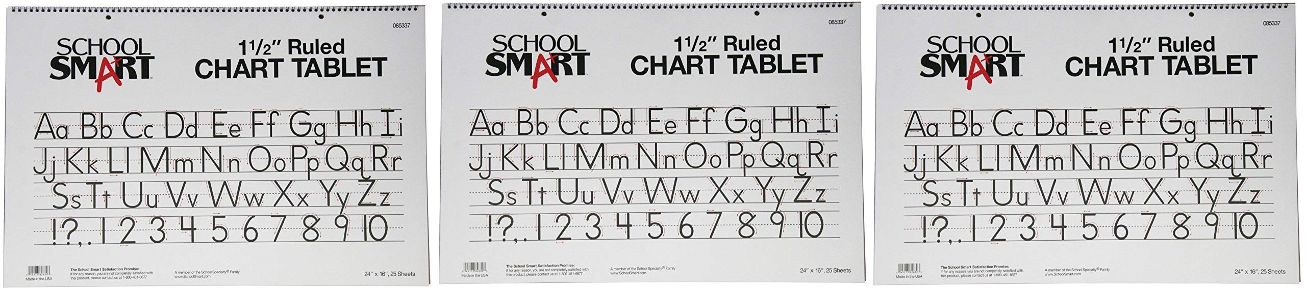 School Smart Chart Tablet, 24 x 16 Inches, 1-1/2 Inch Skip Line, 25 Sheets (3-(Pack))