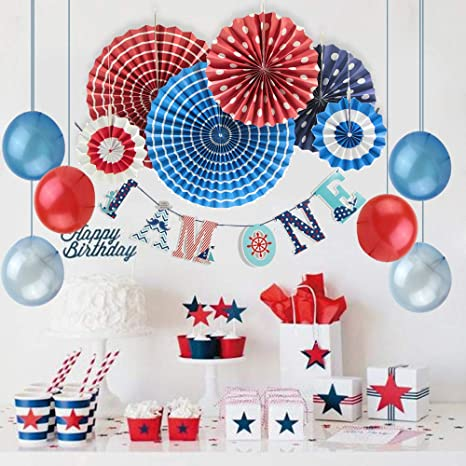 Image Unavailable Not Available For Color Colorful Printed First Birthday Party Decoration Kit Nautical