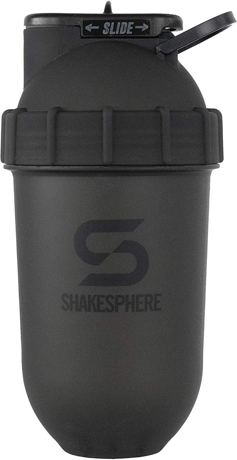 ShakeSphere Tumbler: Protein Shaker Bottle, 24oz ? Capsule Shape Mixing ? Easy Clean Up ? No Blending Ball or Whisk Needed ? BPA Free ? Mix & Drink Shakes, Smoothies, More (Matte Black)