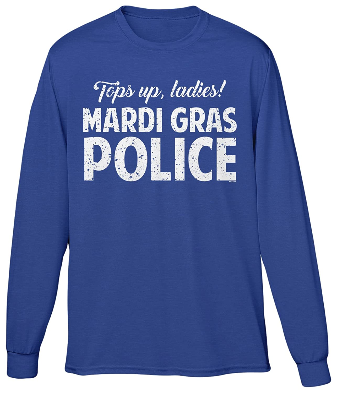 Blittzen Mens Long Sleeve T-shirt Tops Up Ladies Mardi Gras Police