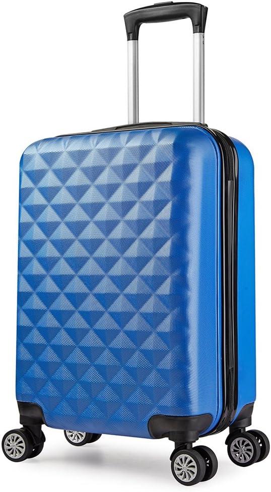 PARTYPRINCE Maleta cabina 56 cm rígida policarbonato abs diamante equipaje rigida con ruedas Azul