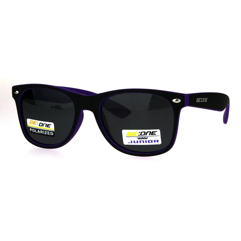 Kids Size Boys Polarized Classic Hipster Horned Rim Plastic Sunglasses