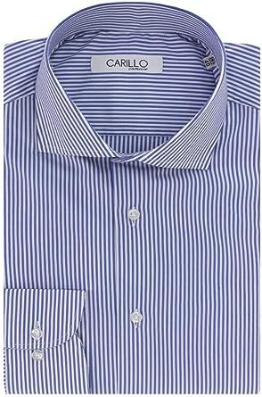 CARILLO CAMICIE - Camisa de Hombre Slim Fit elástica a Rayas Medias Elegante Cuello clásico Casual Formal Manga Larga