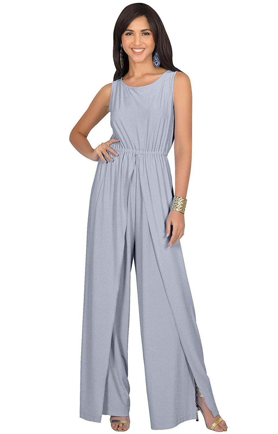 ae4ebf3e09e Amazon.com  KOH KOH Womens Sleeveless Cocktail Wide Leg One Piece Jumpsuit  Romper Playsuit  Clothing
