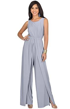 4d495109adfb Amazon.com  KOH KOH Womens Sleeveless Cocktail Wide Leg One Piece Jumpsuit  Romper Playsuit  Clothing
