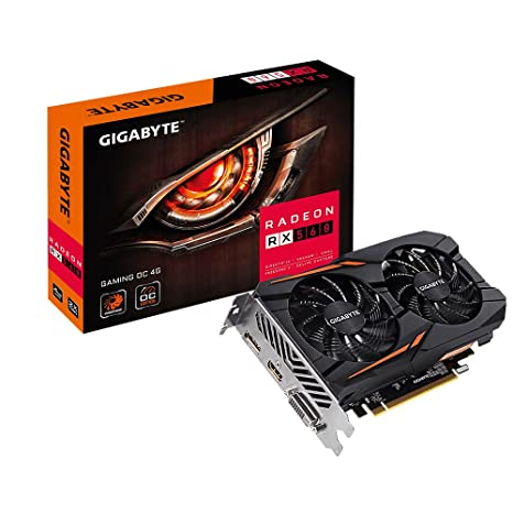 Gigabyte Radeon RX 560 Gaming OC V2 - Tarjeta gráfica (4 GB, 14nm Polaris, 1204 Streams, 1176-1234 MHz GPU) Color Negro