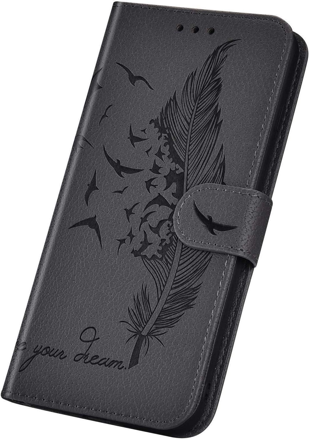 Saceebe Compatibile con Galaxy S10 plus Custodia pelle Cover a libro PU Flip Case Pelle Cover Portafoglio con Porta Carte di Credito Morbido,verde Custodia in pelle Feather goffratura