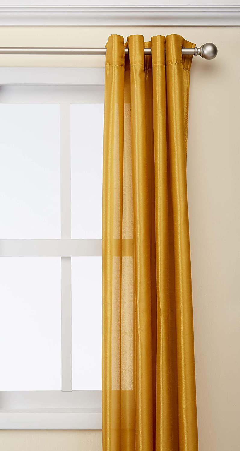 "Kashi Home Holly Collection Faux Silk Window Panel/Curtain / Drape 57""x 84"" Lightweight Solid Design in Mustard - Single Panel, Grommet Top Panel"