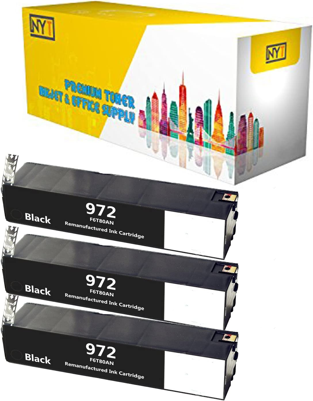Black NYT New Compatible 3 Pack HP 972A F6T80AN Ink Cartridge for HP Pagewide Pro 352 377