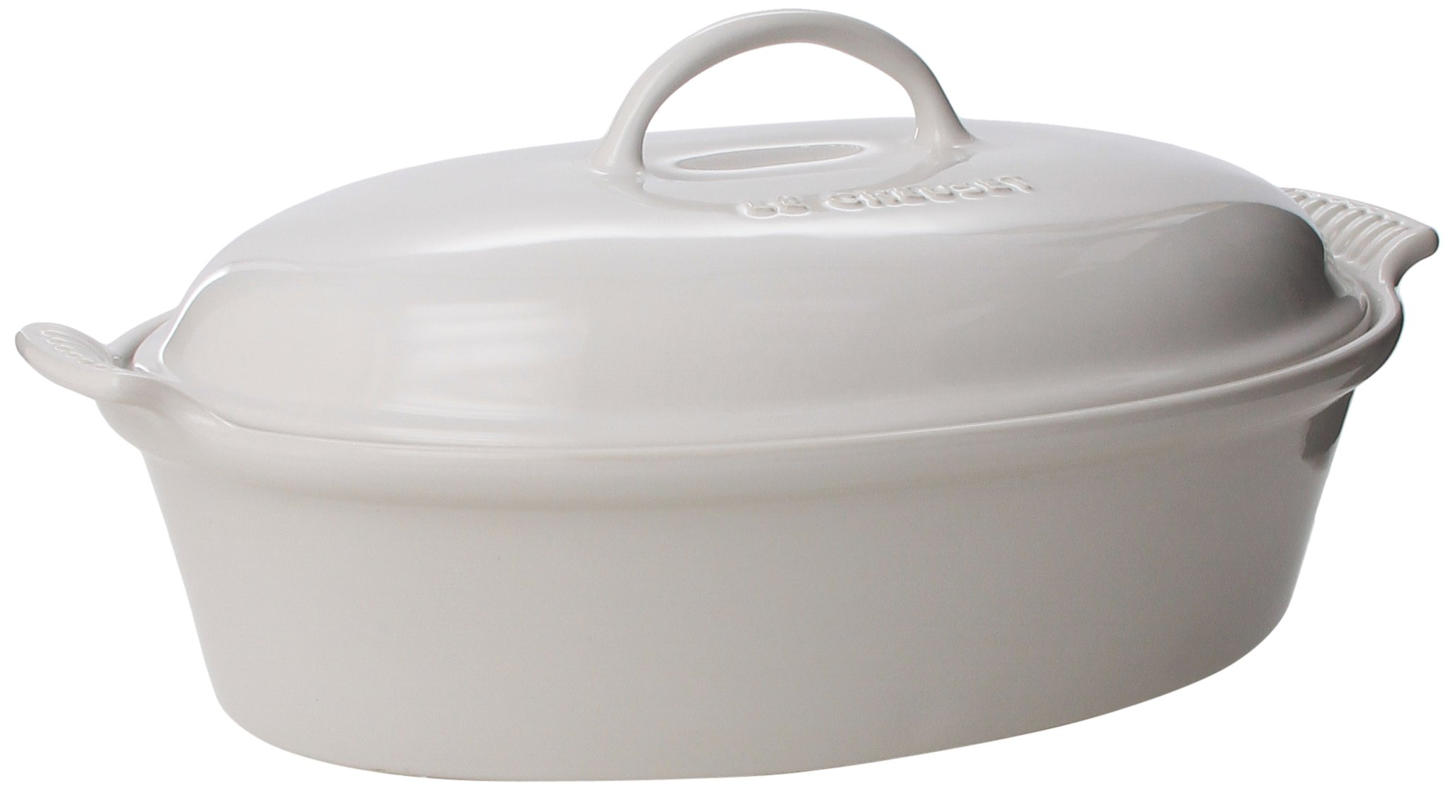 Le Creuset Stoneware 4-Quart Covered Oval Casserole, White
