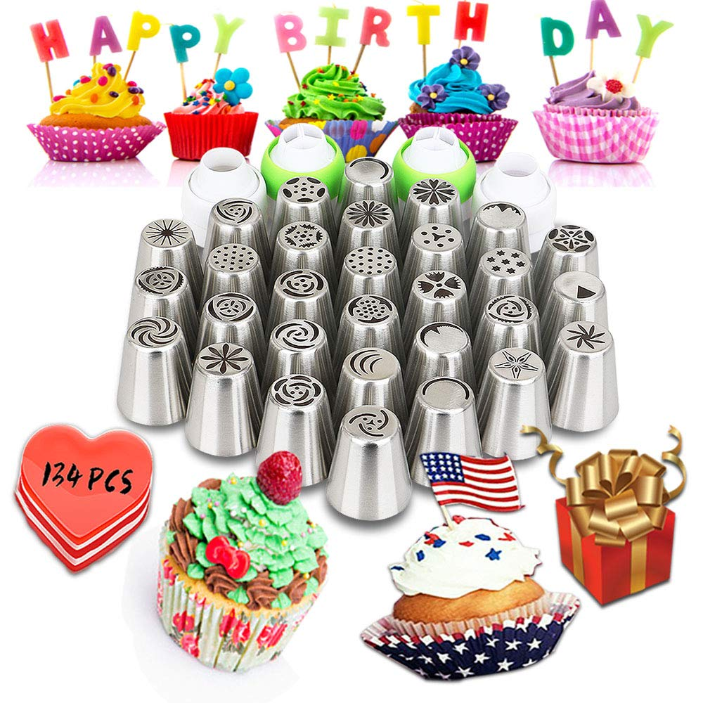 Russian Piping Tips set 134 PCS - Cake Decorating Kit - Cake Decorating Supplies -30 Piping Tips-100PCS Pastry Bags-4 Couplers Bakery Supplies for Cake and Cupcake (large) by CLJ