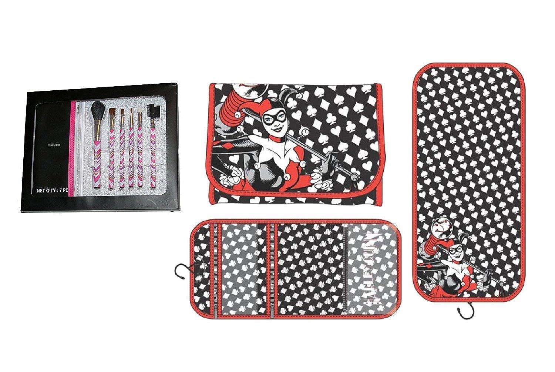 Harley Quinn Hanging Travel Cosmetic Bag Make-up Brush Set Multi-pack