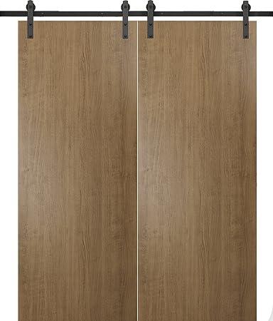 Puertas correderas de granero doble | Planum 0010 nogal ahumado | 13 pies perchas de barra detiene hardware Set | moderno panel sólido interior puerta: Amazon.es: Bricolaje y herramientas