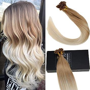 Sunny Balayage U Tip Hair Extensions Human Hair Color #14 Honey Blonde  Mixed #60 Platinum Blonde...