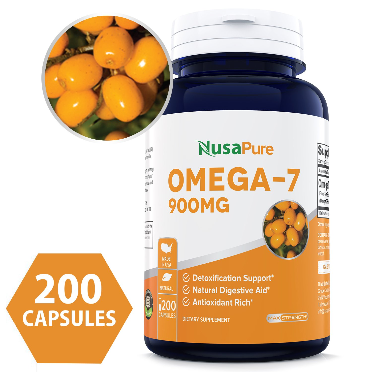 Best Purified Omega 7 Fatty Acids 900mg 200 Capsules (Non-GMO Gluten Free) Natural Sea Buckthorn Oil, No Fish Burp, Omega-7 Palmitoleic Acid, Omega 3 6 9 Weight Loss - 100% Money Back Guarantee
