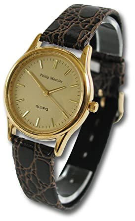 philip mercier mens champagne dial watch brown strap amazon philip mercier mens champagne dial watch brown strap