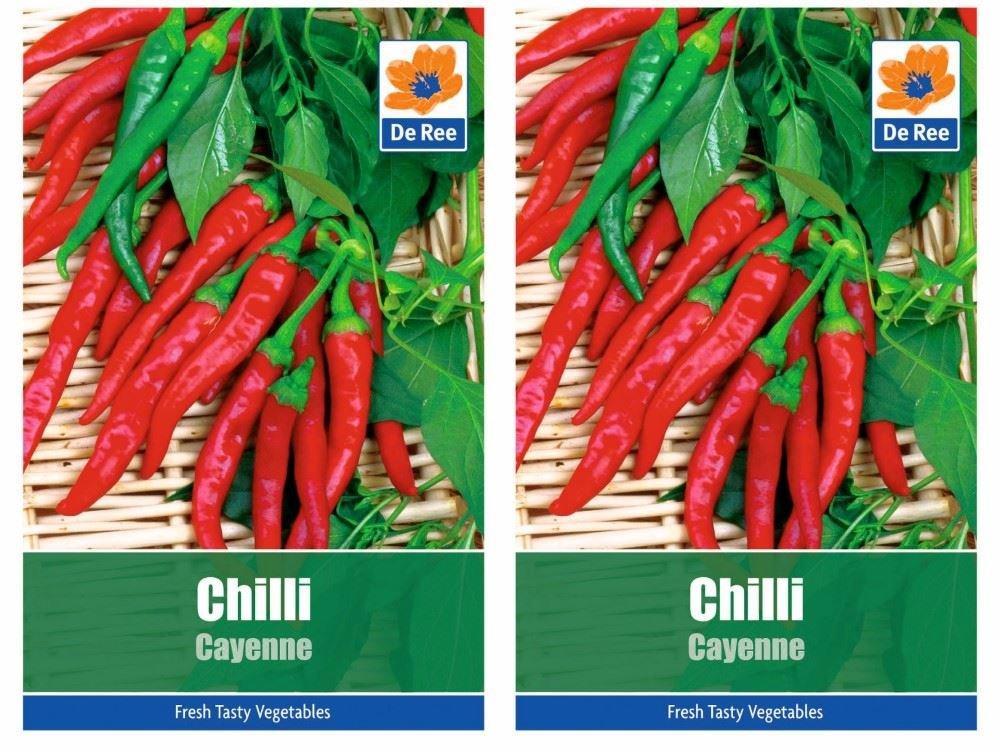 De Ree 2 Packs of CHILLI CAYENNE Vegetable Garden SEEDS - Approx 100 Seeds per pack