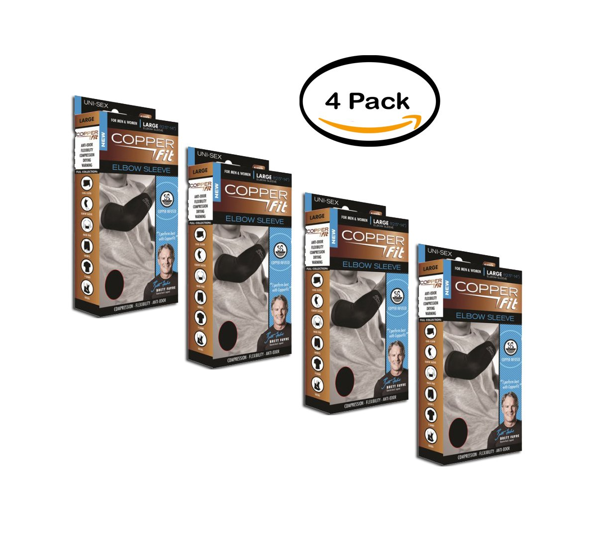 PACK OF 4 - Copper Fit Compression Elbow Sleeve, Medium by As Seen On TV