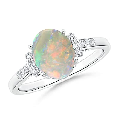 Angara Oval Shaped Opal Bypass Ring in Rose Gold - October Birthstone Ring Y5I9IIXBZ