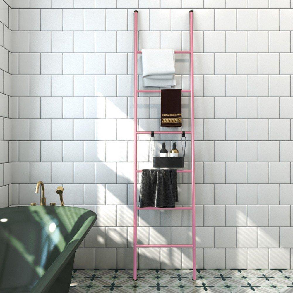 GW Perchas De Suelo Nórdico En El Hogar Red De Hotel De Color Rojo Apartamento Dormitorio Escalera Rack Baño Toalla De Múltiples Capas,Pink: Amazon.es: ...