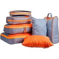 LANGRIA Set di 7 Organizzatori di Viaggio Imballaggio Cubi di Lavanderia Sacchetto per Valigia da Viaggio e Zaino Lavabili