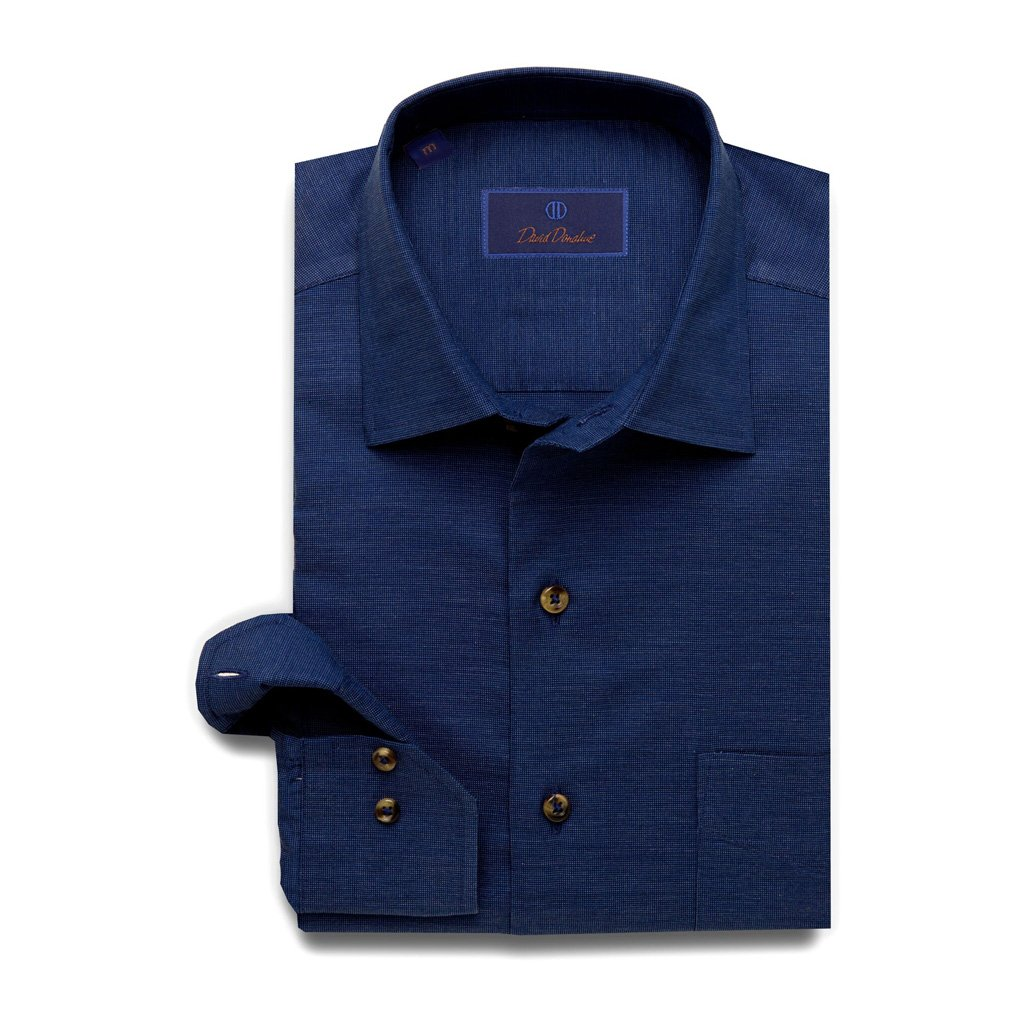 David Donahue Super Fine Cotton Barrel Cuff Navy Sport Shirt XX-Large by David Donahue (Image #1)