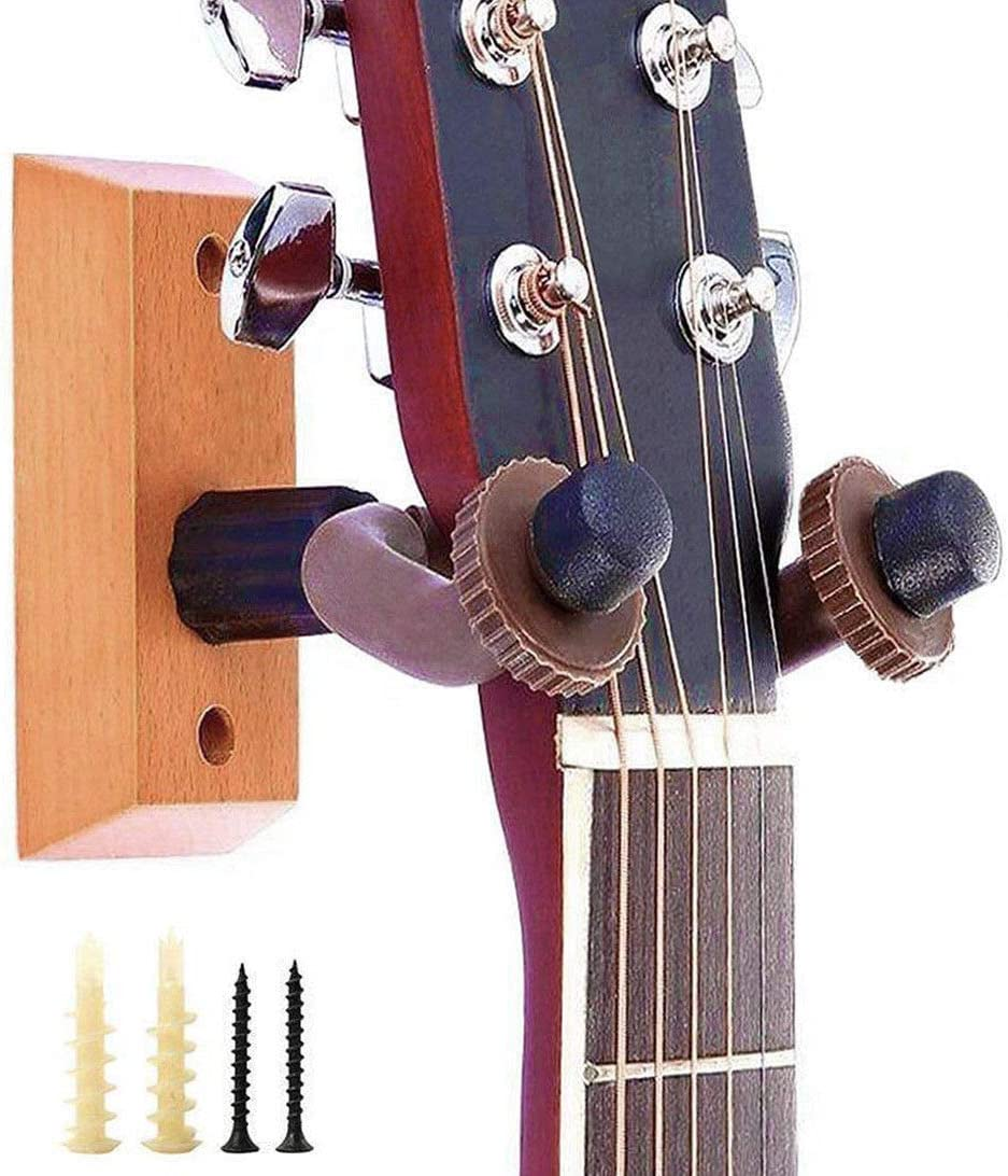 Mincy 4-Pack Guitar Wall Mount Hanger Guitar Hanger Wall Solid Wood Hook Holder Stand for Bass Electric Acoustic Guitar Ukulele