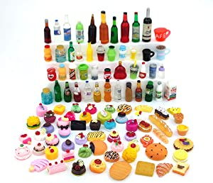 Nuanmu Miniature Food Drink Bottles Pretend Play Kitchen Game Party Toys (10 Bottles + 10 Foods(Random))