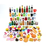 Nuanmu Miniature Food Drink Bottles Pretend Play Kitchen Game Party Toys (20 Foods(Random))