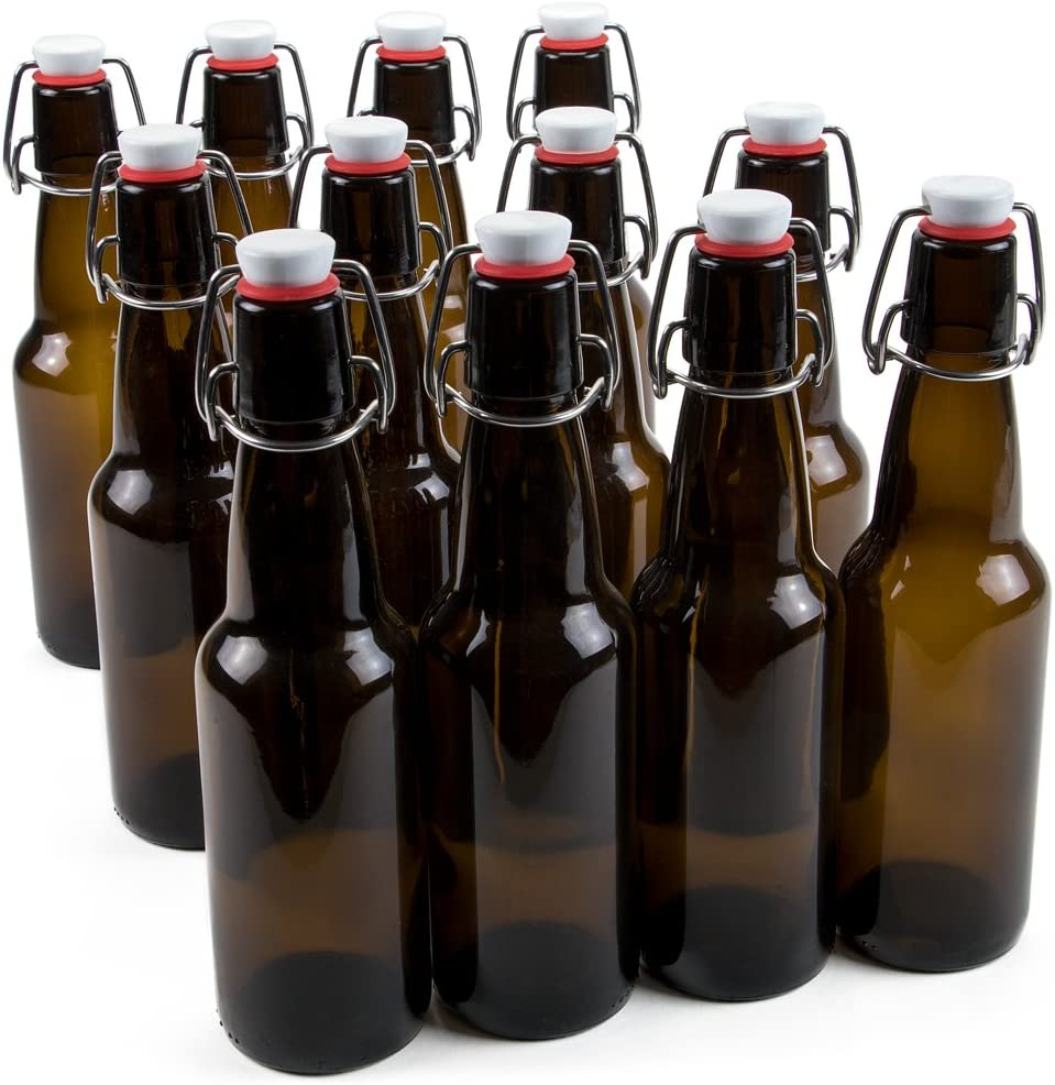 11 oz. Grolsch Glass Beer Bottle – Airtight Swing Top Seal Storage for Home Brewing of Alcohol, Kombucha Tea, Homemade Soda by Cocktailor (12-pack)
