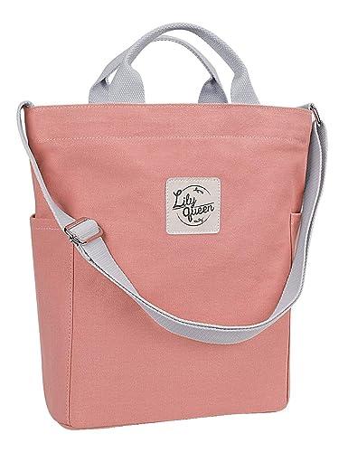 92470c21de Amazon.com  Lily Queen Women Canvas Tote Handbags Casual Shoulder Bag purse  Crossbody (Almond Pink)  Shoes