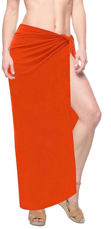 LA LEELA 5 in 1 Rayon Strand Sarong Rock Kleid wrap vertuschen 223x99 cm Orange 126587